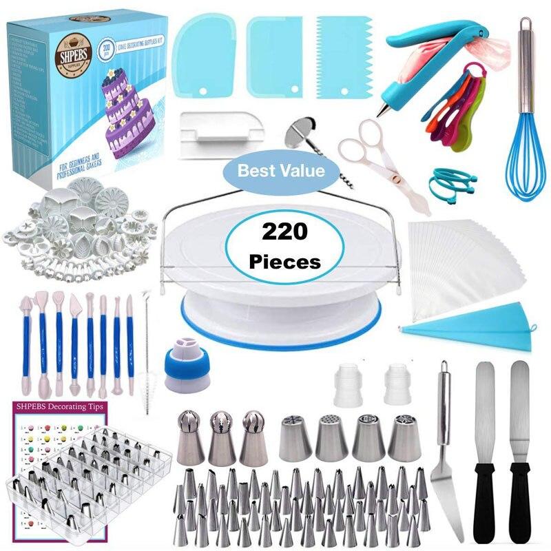 220pcs/lot Cake Tools Decorating Nozzle Set Baking Set with Cake Rotating Turntable Decorating Kits Cake Decorating Supplies