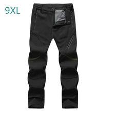 Calças softshell inverno dos homens pele de tubarão grossas calças impermeáveis outwear velo turismo montanha calças masculinas plus size 9xl 8xl