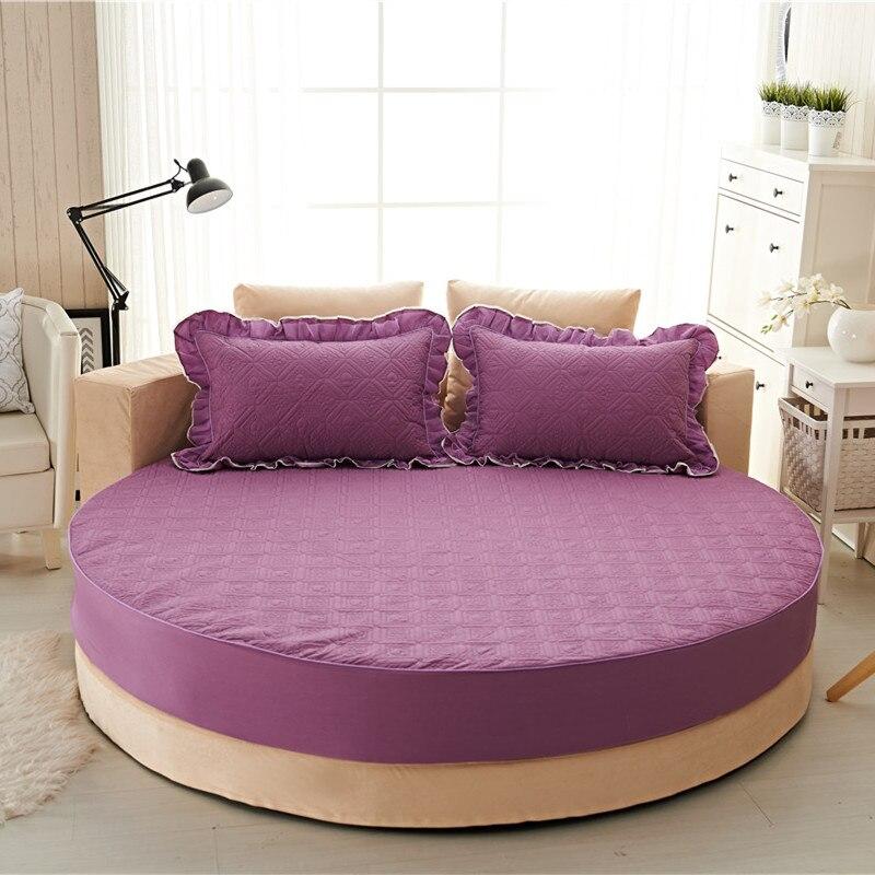 Princesa rodada folha 100% algodão acolchoado tampa de cama lençol 3 pçs/set círculo elástico rei, super king size engrossar algodão pad - 2
