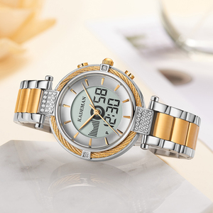 Image 5 - KADEMAN Luxury Crystal Watch LED Display Women Top Brand Stainless Steel Ladies Wrist Watches Bracelet Clock Relogio Feminino