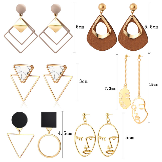 Round and Triangle Earrings - 29 Style 5