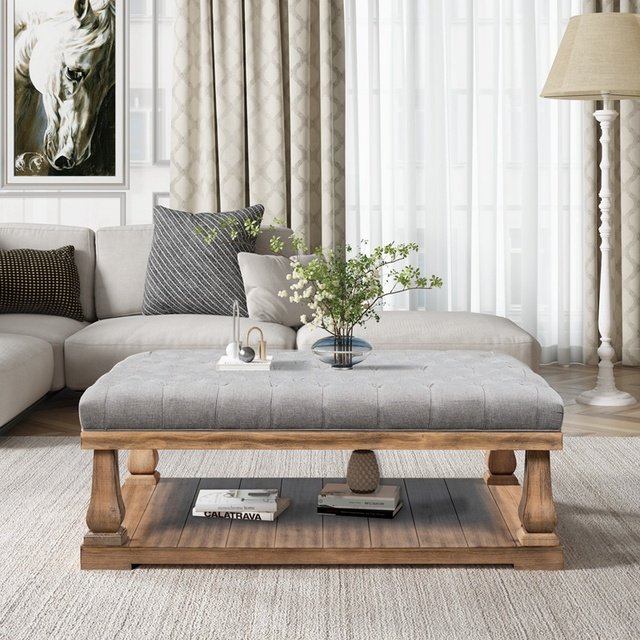 Upholstered Storage Bench With Wood Shelf 1