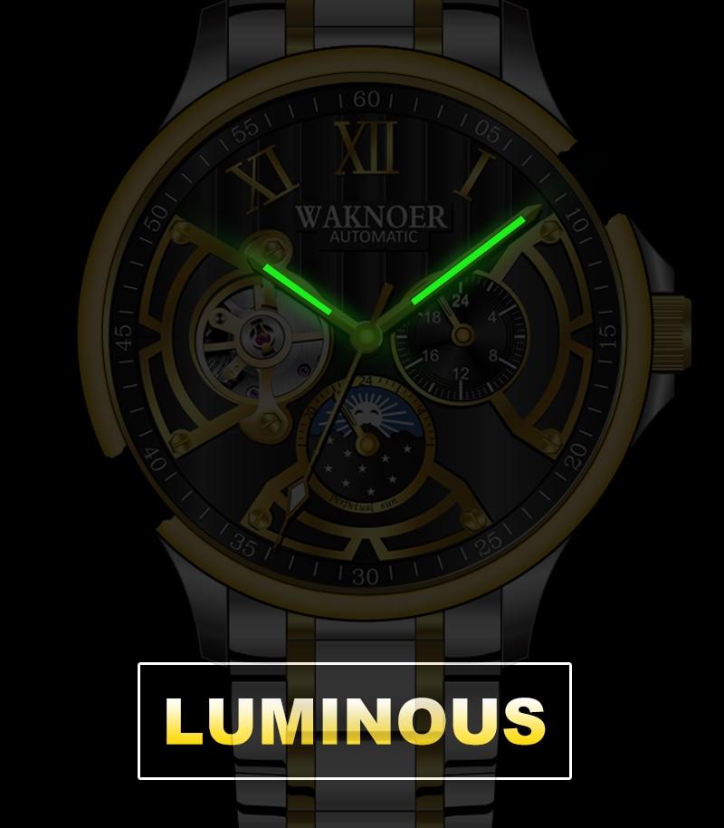 H2098c104b3a14c9ba14e0c57400aa952f WAKNOER Automatic Mechanical Watch Men Stainless Waterproof Moon Phase Luminous Luxury Gold  Business Tourbillon Montre Homme