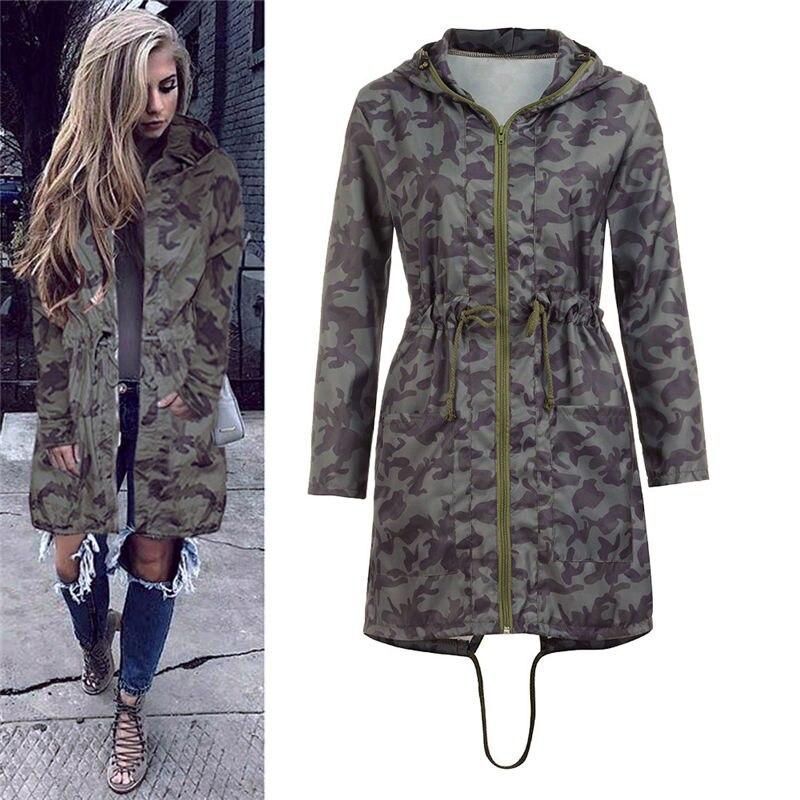 Boyfriend Womens Fashion Hooded Long Coat Jacket Windbreaker Camouflage Outwear Ladies Autumn Winter Coats Hoodies Streetwear Innrech Market.com