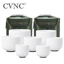 """CVNC 6 """" 12"""" のセット 7 個つや消し水晶 Singing ボウルで送料 2 個ライナーバッグ"""