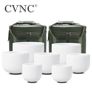 """Image 1 - CVNC 6 """" 12"""" 7pcs 서리로 덥은 석 영 크리스탈 노래 그릇 무료 2pcs 라이너 가방 세트"""