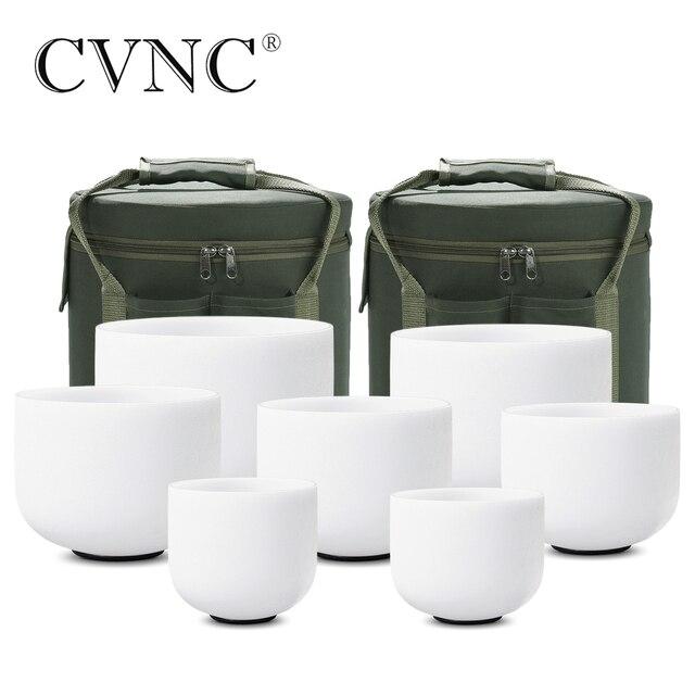 """CVNC 6 """" 12"""" 7pcs 서리로 덥은 석 영 크리스탈 노래 그릇 무료 2pcs 라이너 가방 세트"""