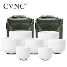 """CVNC 6 """" 12"""" Set di 7pcs Glassato Cristallo Di Quarzo Singing Bowl con Free 2pcs Liner borse"""