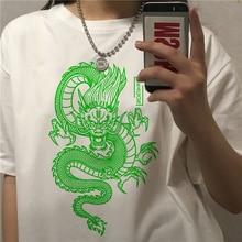 Streetwear tops mujeres camiseta de ulzzang Harajuku chino estampado de dragón camiseta novedad de verano Oversize suelto casual de las mujeres