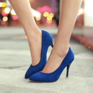 Image 5 - ZawsThia 10cm thin high heels purple blue woman sexy pumps shoes slip on women wedding stilettos ladies shoes big size 10 42 43