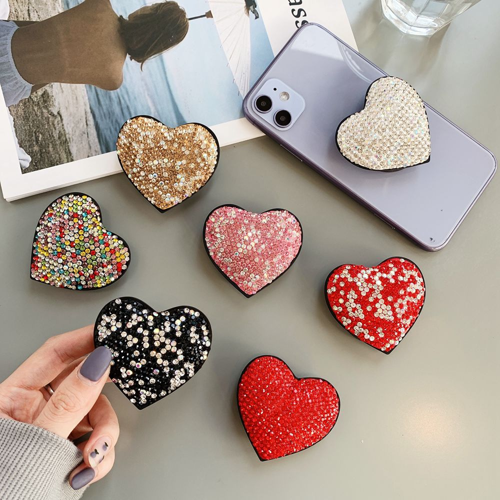 Luxury Glitter Diamond Love Fold Finger Ring Phone Holder For IPhone Samsung Xiaomi Huawei Case Universal Phone Bracket Stand