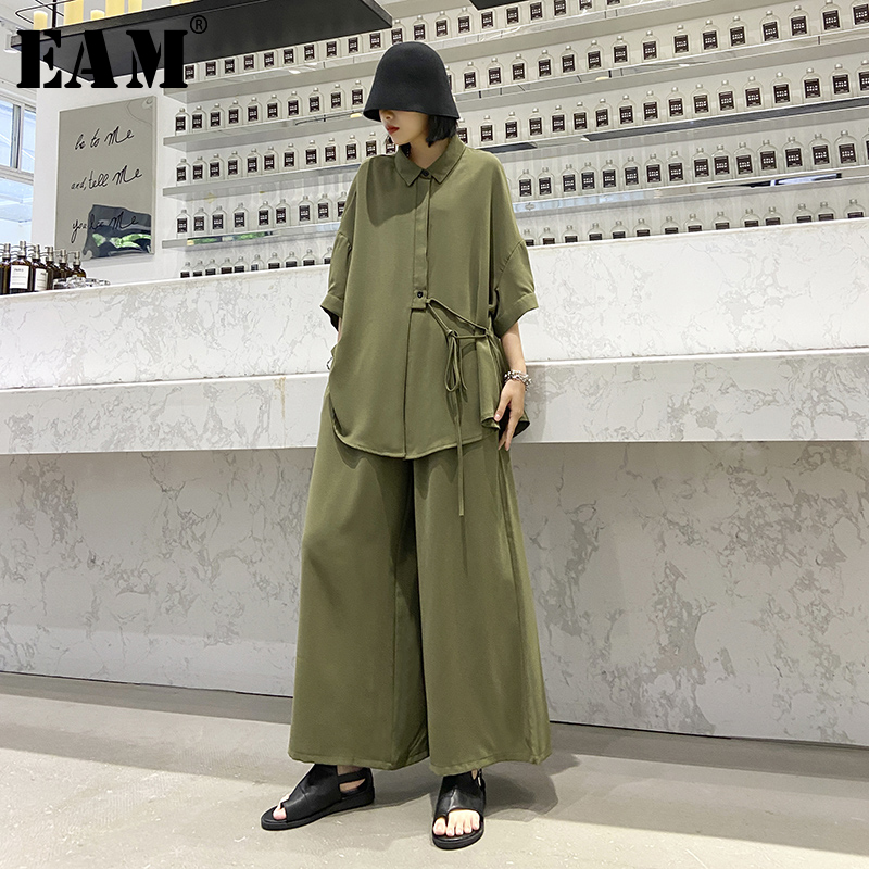 [EAM] Wide Leg Pants Two Piece Suit New Lapel Three-quarter Sleeve Green Loose Fit Women Fashion Tide Spring Autumn 2020 1T779