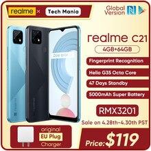 Realme c21 versão global smartphone helio g35 octa núcleo 4gb 64gb 6.5