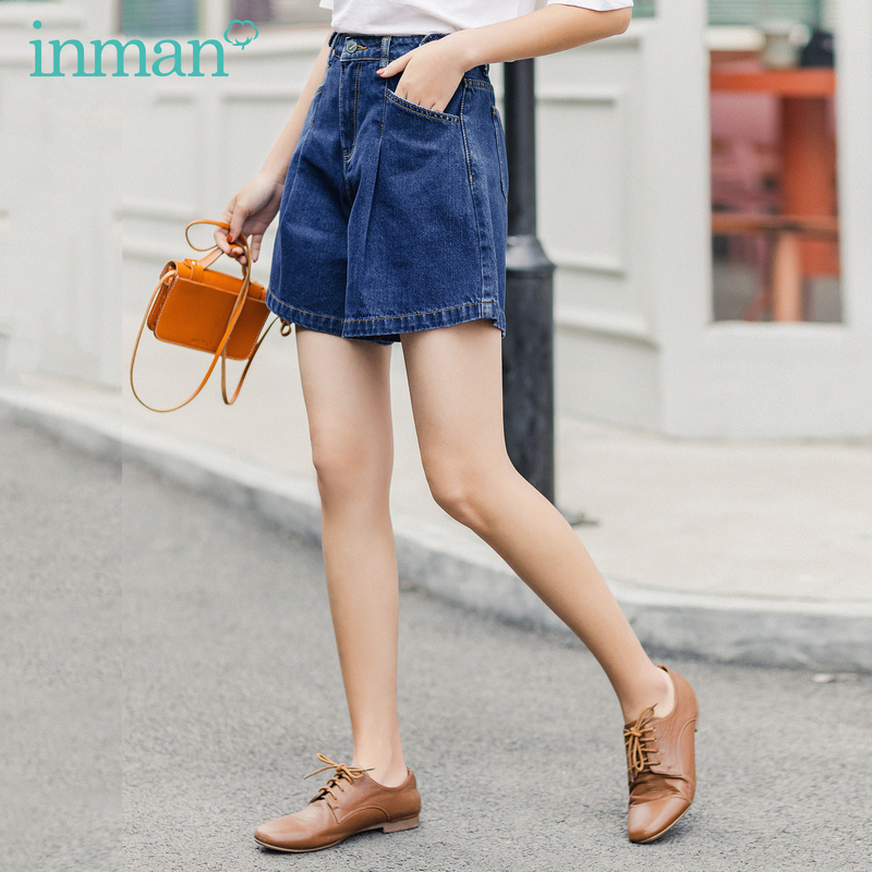 INMAN 2020 Summer New Arrival Comfortable Cotton Ventilate Loose A-line Side Button Fold Shorts