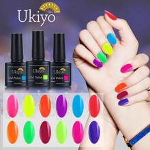 Ukiyo 10ml Fluorescent Neon Nail Gel Polish Soak Off UV Gel Nail Polish Candy Color Nail Art Gel Varnish Manicure Nails Lacquer(China)