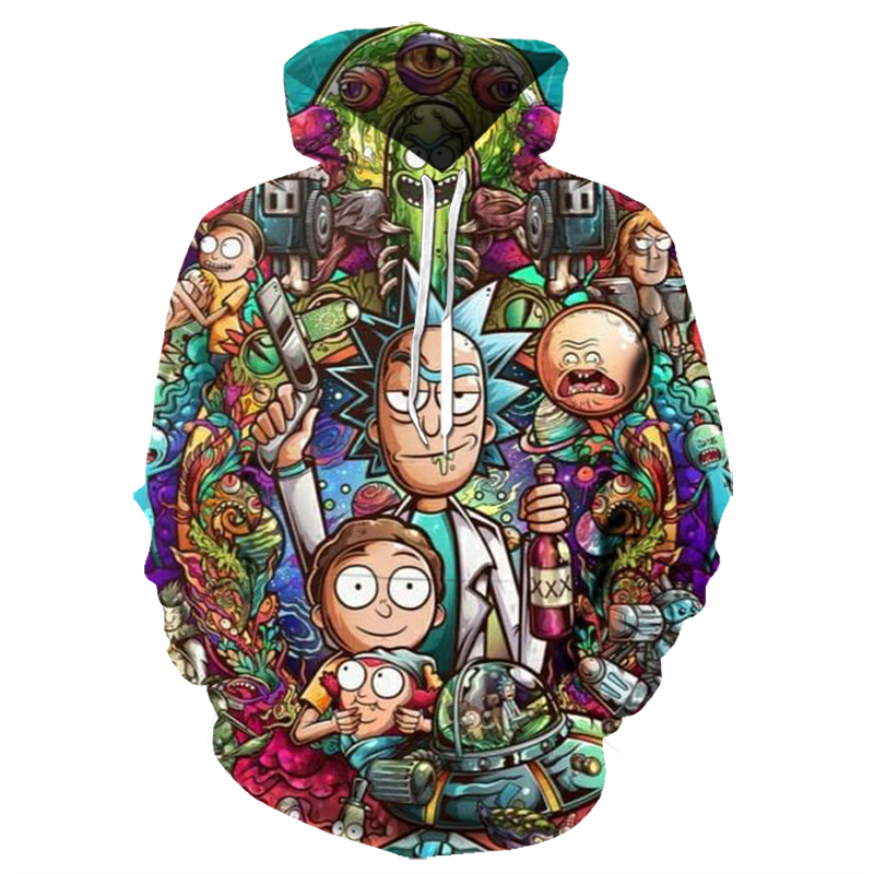 Mens Hoodies Rick And Morty 3D Printed Hoody Pullover Man's Streetwear Harajuku Hooded Cartoon Hoodies And Sweatshirts S-6XL