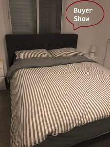 Image 4 - Junwell 100% Cotton Yarn dyed  Jersey Duvet Cover Japanese Style Stripe Design Quilt Cover 1PC And 3PCS Set