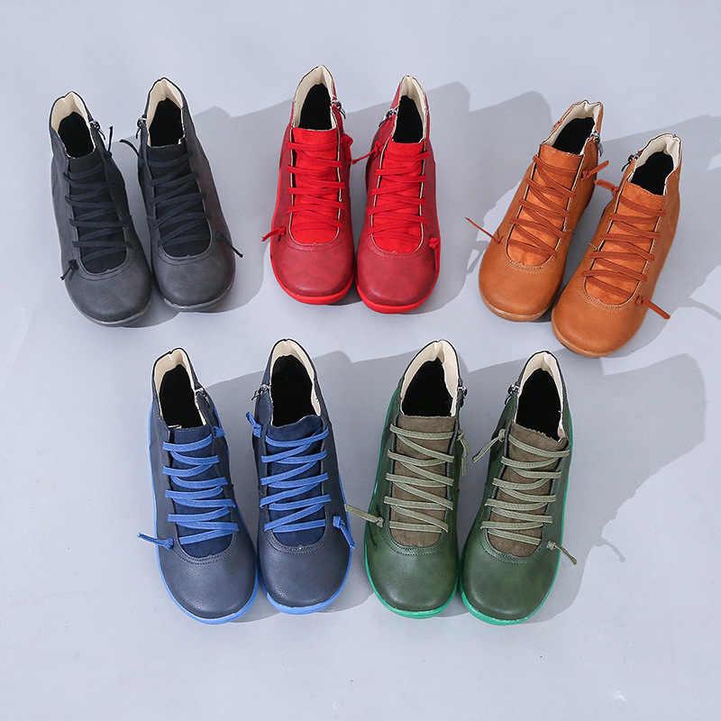 2020 femmes bottes cheville Socofy PU cuir à lacets chaussons femme grande taille croix sangle chaussures plates hiver printemps bottes femmes chaussures courtes