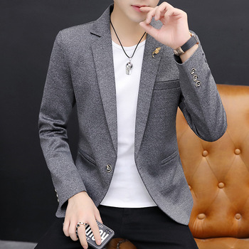 2020 Men's Stylish Slim-Fit Solid Color Casual Suit Youth Thin for Autumn and Winter Gray blazers