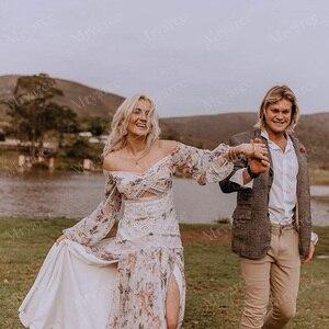 Image 4 - Mryarce Morden Sposa Floreale Flowy Chiffon Boho Chic Abito Da Sposa Al Largo Della Spalla Gambe Aperte Abiti Da Sposa