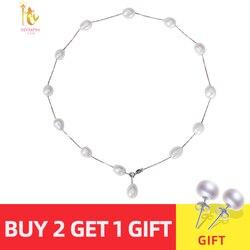 [Nymph] 925 prata esterlina jóias naturais pérola jóias branco barroco pérola jóias colar pingente para mulher x1213