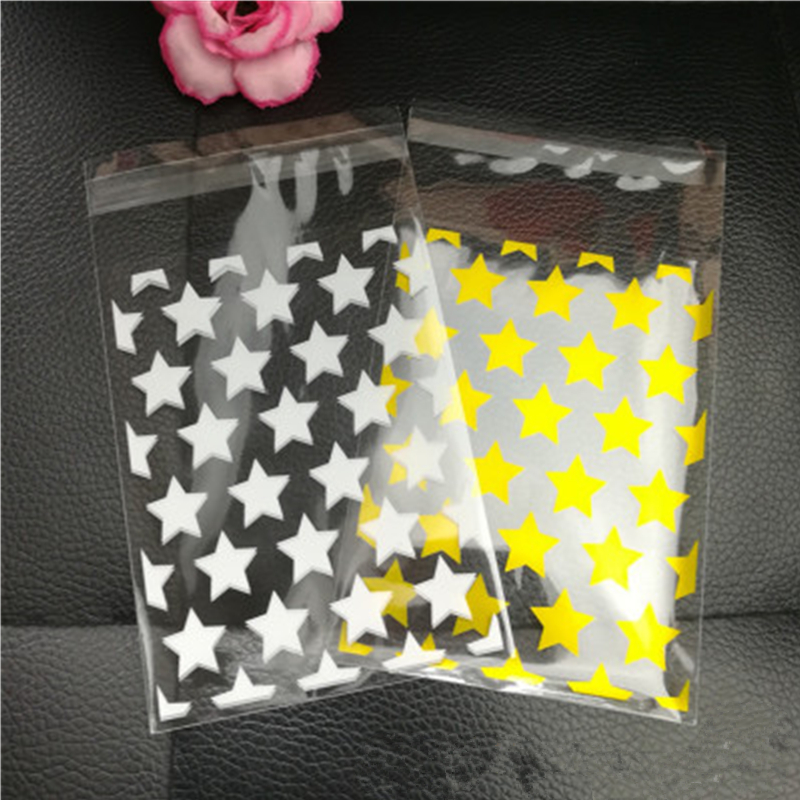 2020 Новый 100 шт./компл. Свадебная конфетная Подарочная пластиковые пакеты для печенья, белый цвет с рисунком звезд, прозрачный рождественские...