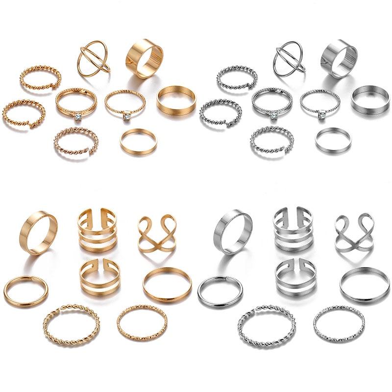 FAMSHIN 8 Pcs/Set Fashion Design Round Gold Color Rings Set For Women Handmade Geometry Finger Ring Set Female Jewelry Gifts