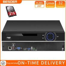 BESDER – enregistreur vidéo en réseau, 25 canaux, 5mp, 32 canaux, 1080P, 8 canaux, 4K, CCTV, H.265, NVR, Onvif 2.0, pour caméra IP, 2 ports SATA, XMEYE P2P Cloud