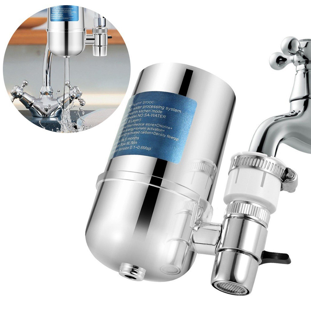 Ceramic Tap Water Filter Kitchen Faucet Water Filter Stainless Steel Tap Water Purifier Reduce Chlorine Odor Contaminants
