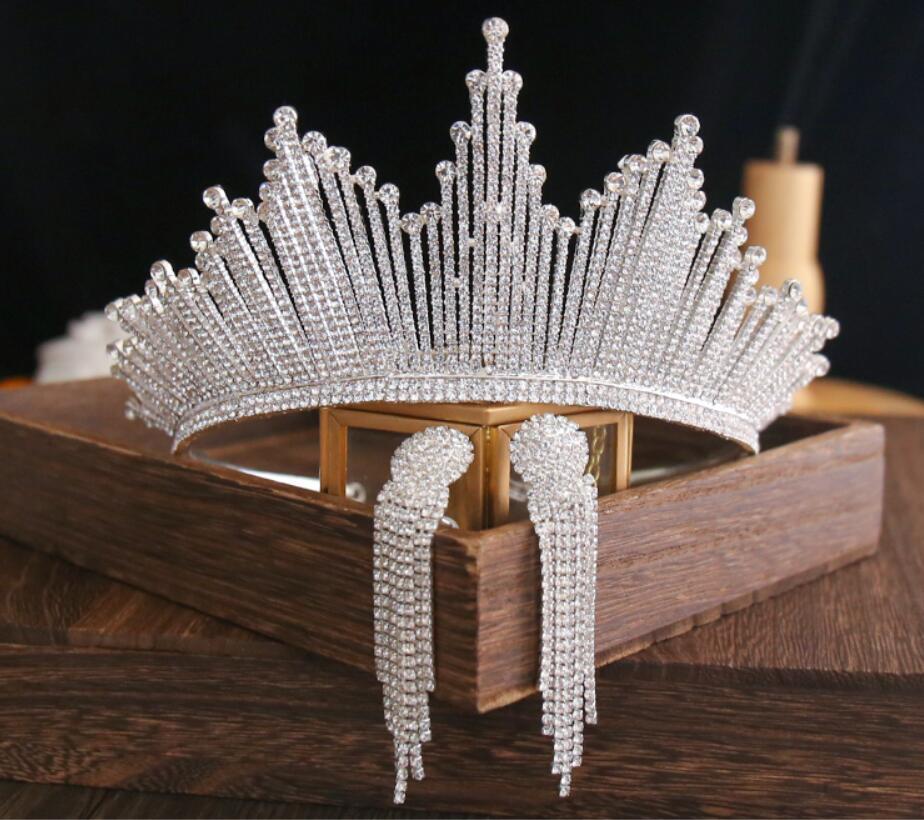 Bling Bling Set Crowns Earrings Bridal Jewelry Accessories Wedding Tiaras Rhinestone Crystal Headpiece Formal Bolero Bridal Wrap