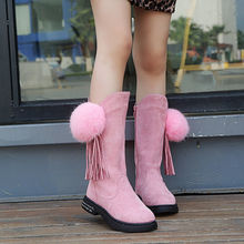 Buy Fashion Girls Winter Shoes Flat Heel Solid Color Plus Velvet Long Boots Pointed Toe Knee High Fluffy balls Cute Flats Boot 27-37 directly from merchant!