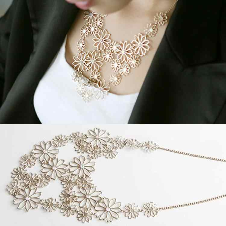 Elegant Camellia Flower Choker Necklace With Rhinestone  Bib Statement Neck Chain Women Fashion Jewelry