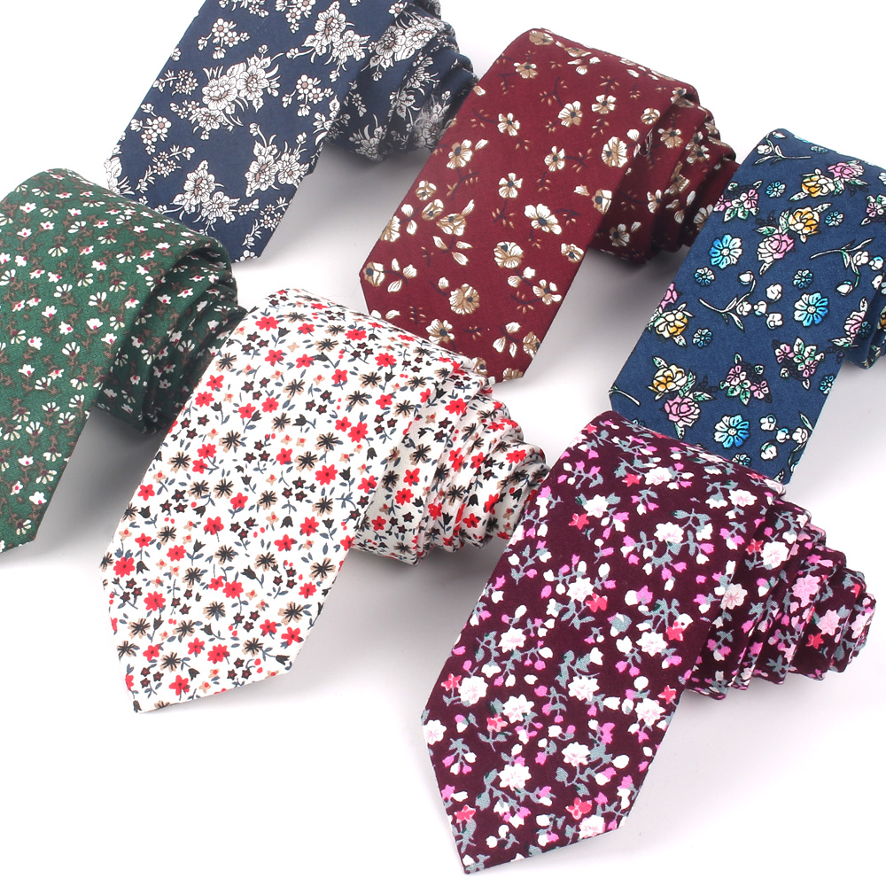New Cotton Ties Fashion Floral Print Neck Tie For Wedding Business Suits Skinny Tie For Men Women Broken Flower Necktie Gravatas