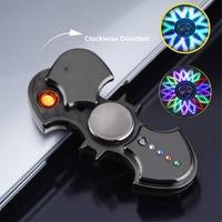 Batman fidget spinner usb eletrônico mais leve 3 variedades luzes led isqueiro do cigarro girador de mão brinquedo plasma elétrico mais leve|Acessórios para cigarros| |  -