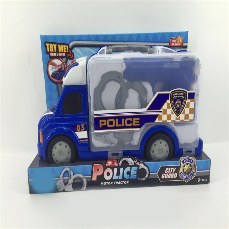 Children'S Educational ENLIGHTEN Toy Set Police Sound And Light Caravan Set Caravan Tool Toy Sets