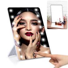 RUIMIO зеркало для макияжа с 8/16 светодиодами, косметическое зеркало с сенсорным выключателем, подставка на батарейках для настольной ванной и ...