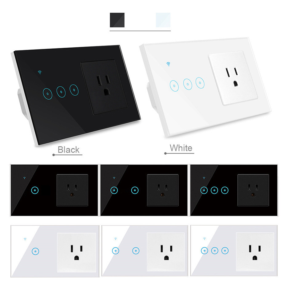 Tuya 16a Smart Wall Outlet Combo Smart Wifi Light Switch Smart Life App Remore Control Wifi Socket Work With Alexa Google Home Electrical Sockets Aliexpress