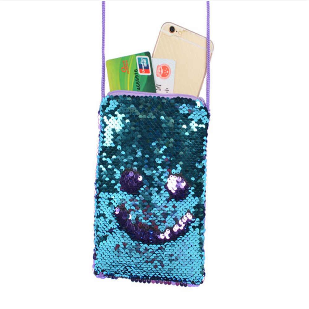 Mulheres Lantejoulas PU Saco Do Telefone Móvel Bolsa Saco Corpo Cruz Bolsa Pequena bolsa de Ombro Mensageiro Sling Bolsa Feminina Bolsa