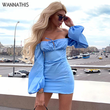 WannaThis Off Shoulder Party Dresses Women Sexy Laceup Hollow Out Autumn Long Lantern Sleeve Skinny Fashion Solid MIni
