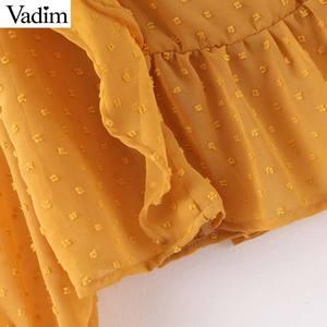 Image 5 - Vadim, милый, Женский шикарный оборками розовый orange блузка с круглым вырезом Длинные рукава офисная одежда рубашка Женский Стильный Топы blusas LB610