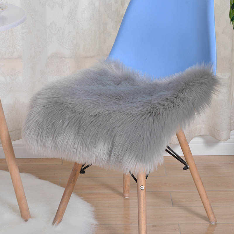 Candy Color Fur Cushion for Sofa Couch Office Chair Seat Red  Artificial Wool Chair Desk Mattress