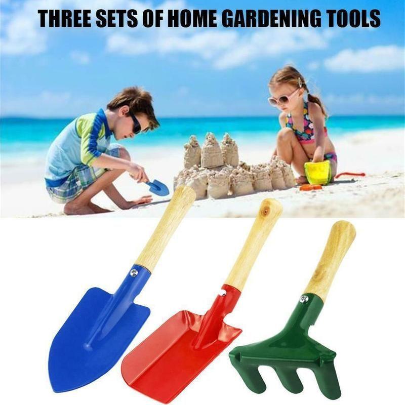 Colorful Beach Toys Shovel Cultivating Plant Garden Tool Set Rake Loosening Soil Transplanter Kids Manual Spade With Wood Handle