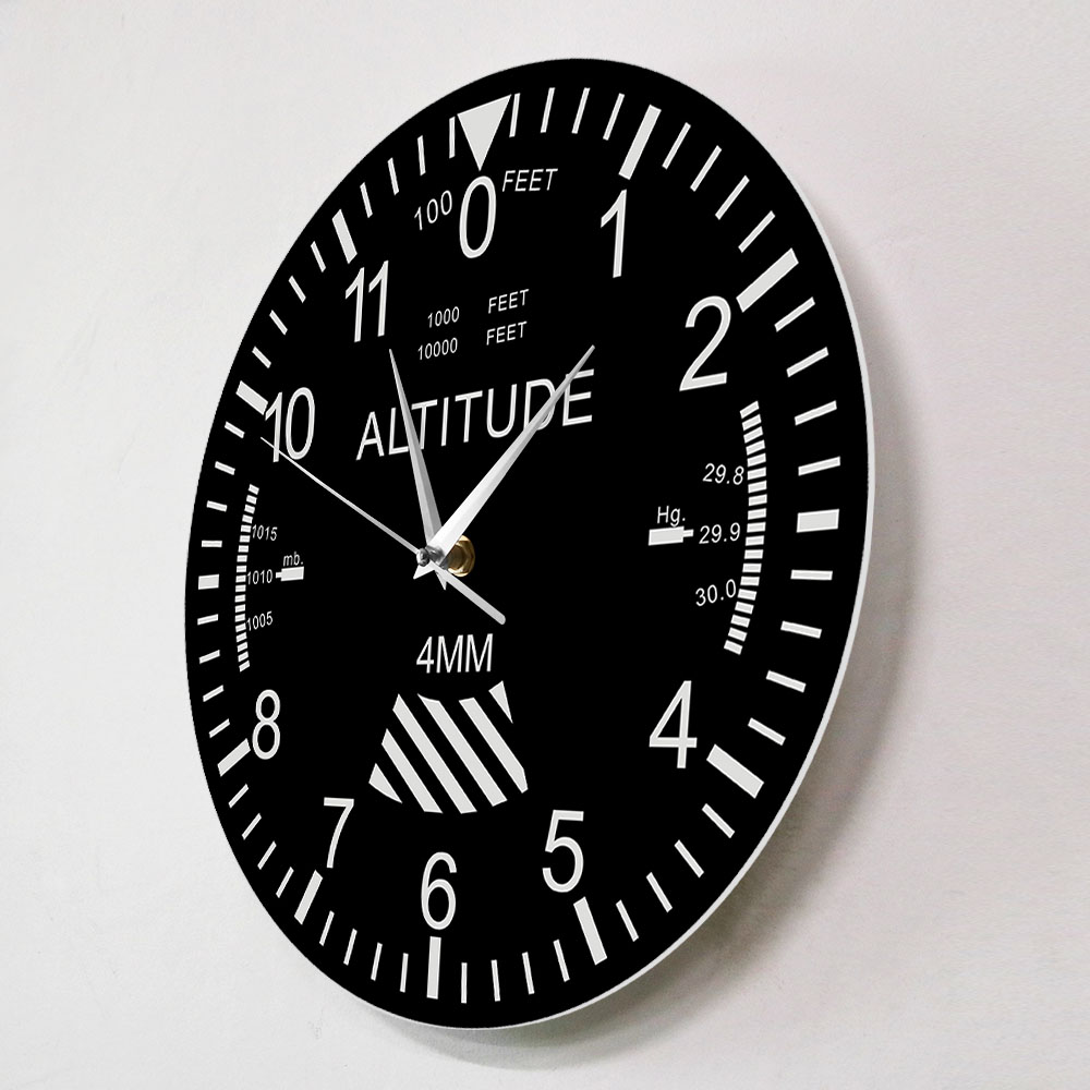 Altimeter Wall Clock Tracking Pilot Airplane Altitude Measurement Modern Wall Watch Classic Just6F