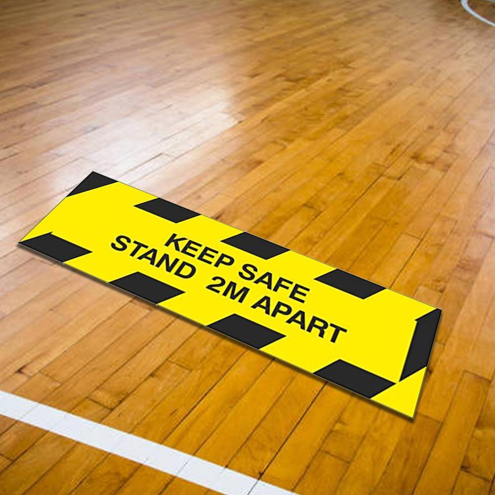 Social Distancing Safety Sign Public Area Stand Here Floor Decals Crowd Control Banks Queues Line Up Rectangle Floor Stickers