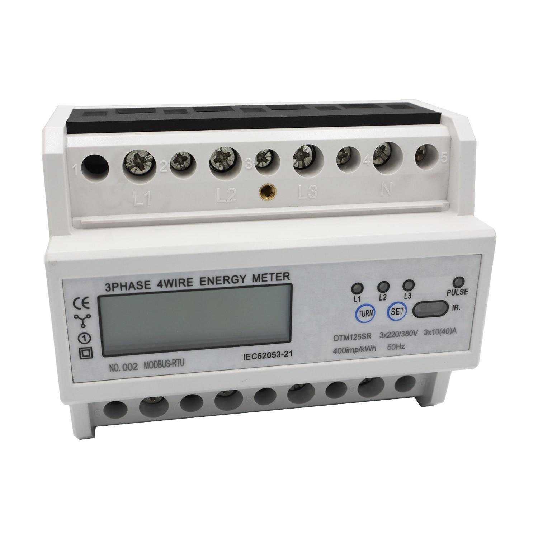 3 phases 4 fils DIN-Rail compteur d'énergie RS485 MODBUS protocole AC220/380 V électronique KWh compteur consommation d'énergie moniteur DTM125SR