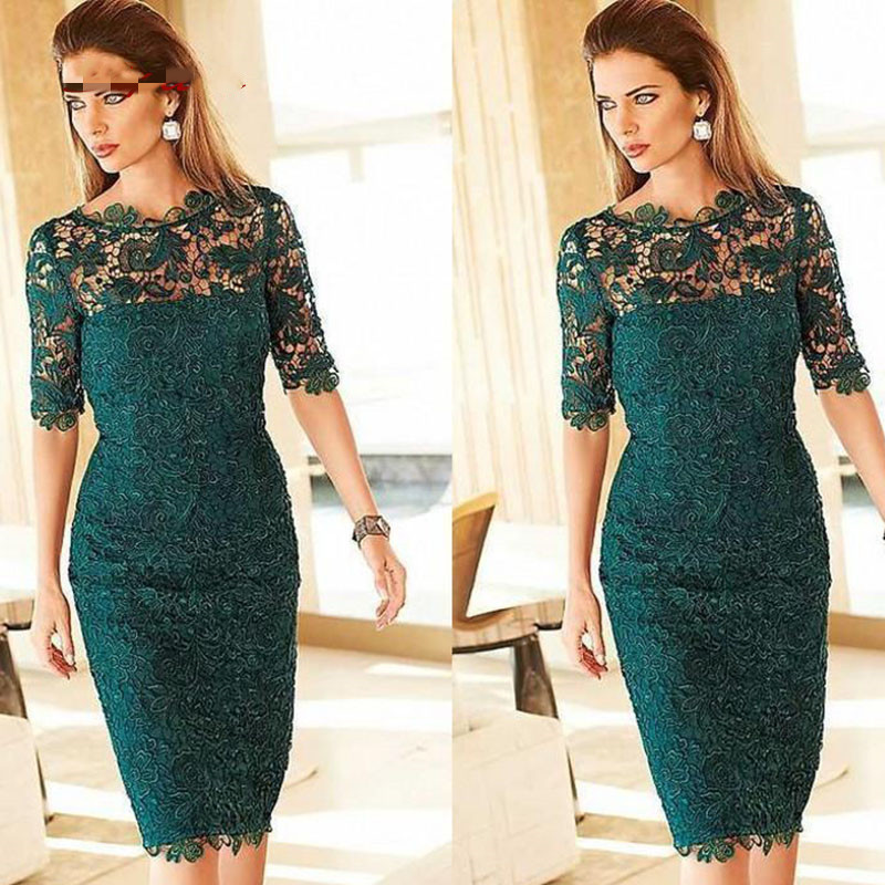 cocktail jurken Emerald for Wedding Plus Size Prom Groom Dinner 2021 short Green Lace Mother of the Bride Dresses