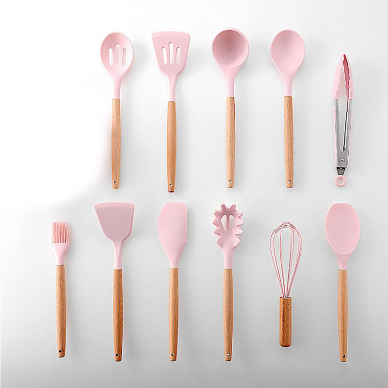 New Pink Cooking Tools Set Premium Silicone Utensils Set Turner Tongs Spatula Soup Spoon Non stick Shovel Oil Brush Kitchen Tool in Cooking Tool Sets from Home Garden