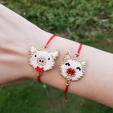 FAIRYWOO Miyuki Bead Bracelet Women Cute Pig Pendant Jewelry Handmade Charm Bracelets Red Rope Drawstring Bangles Sweet Animals For Kid Gifts