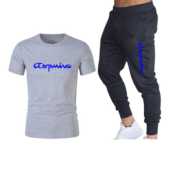 2020 Mens t shirts  pants two pieces sets casual tracksuit letter print suits sportwear fitness jogging Sport Men Clothing