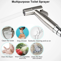 Self Cleaning Hardware Handheld Toilet Bidet Sprayer Set Shower Head Stainless Steel T Adapter Wall Easy Install Bathroom Hose